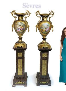 An Important Pair of Monumental Sevres Urns/Vases