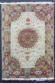 A Persian Tabriz Silk & Wool Rug, HEYDAR ZADEH Signed