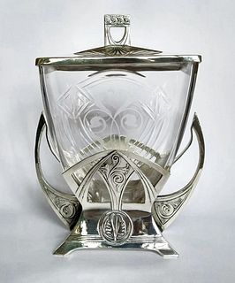 WMF Art Crafts Silver Plate & Engraved Crystal Box/Bowl