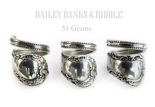 Three Bailey Banks Biddle Sterling Spoon Rings