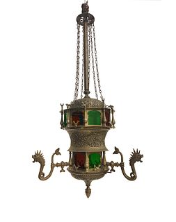 19th C. Moroccan Brass/Colored Glass Figural Chandelier