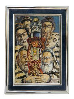 Rabbis by Tadeusza Gajewskiego, A Judaica Watercolor