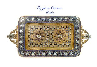 19th C French Gilt Bronze Champleve Enamel Tray, Signed