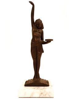 Egyptian Waitress, Vintage Art Deco Bronze Statue