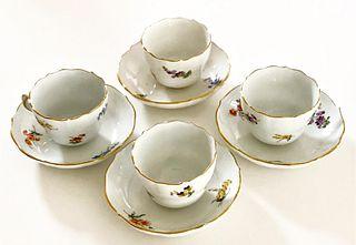 A Meissen Demitasse Cup & Saucer Set (4 Pieces)