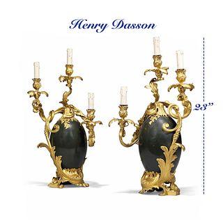 Pair of Henry Dasson Gilt/Patinated Bronze Candelabras