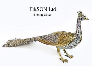 F&SON Ltd Sterling Silver Peacock Figurine, Hallmarked