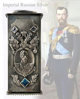 IMPERIAL RUSSIAN SILVER JEWELED TOOTHPICK CASE
