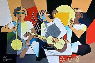 The Musicians, Parviz Kalantari Modern Painting, Signed