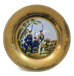 RUSSIAN MILITARY HAND PAINTED PORCELAIN PLATE