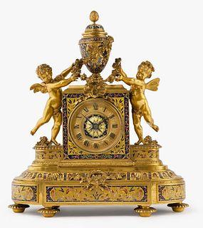 Louis XVI Style Gilt Bronze Champleve & Cloisonne Clock