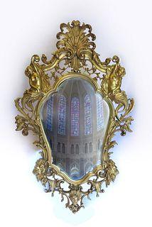 19th C. French Dore Bronze Monumental Figural Mirror