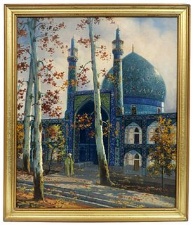 Isfahan Mosque, A Persian Oil on Canvas Painting