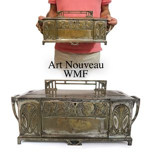 ART NOUVEAU WMF SILVERED PEWTER BOX WITH HINGED COVER