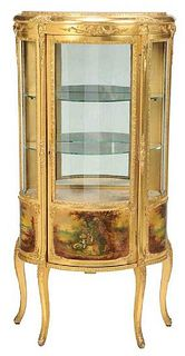 A Vernis Martin Style Painted and Glass Vitrine