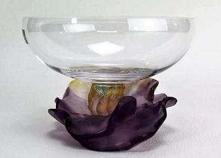 A DAUM Pate de Verre Lilly Glass Bowl, Signed