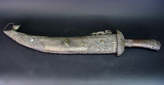 Asian Silver & Jade Jeweled Scabbard Sword, Signed