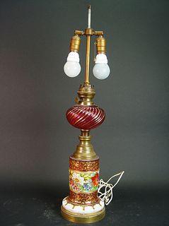 19th Century Bohemian & Baccarat Burgundy Glass Lamp