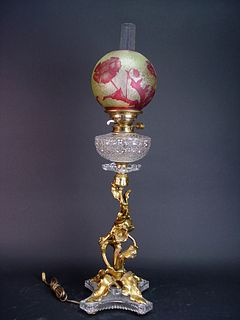 19th Century French Gilt Bronze & Baccarat Crystal Lamp