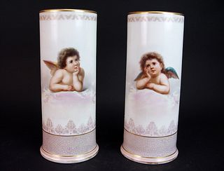 A Pair of 19th Century French Opaline Glass Vases