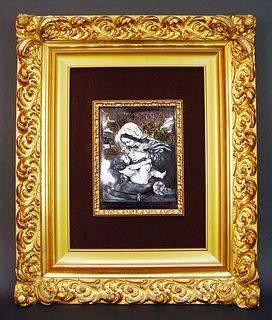 Limoge Mother & Child Painting Gilt Wood Framed, Signed