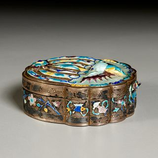 Chinese silver and enamel butterfly box