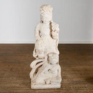 Large antique Chinese carved marble Guanyin