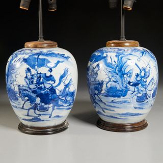 Pair Chinese blue and white lamps, Parish-Hadley