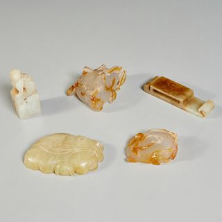 Chinese jade and agate carved scholar's objects