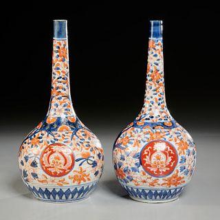 Pair Imari porcelain bottle vases, ex Christies