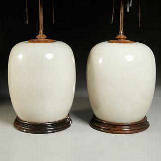 Pair Chinese pale celadon ginger jar lamps