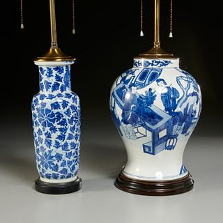 (2) Chinese blue and white porcelain vase lamps
