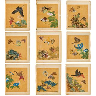 Chinese School, (9) butterfly and flower paintings