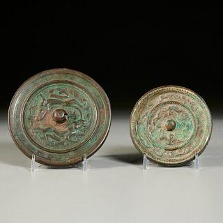 (2) Chinese bronze round mirrors
