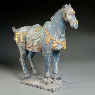 Chinese Tang style carved wood horse