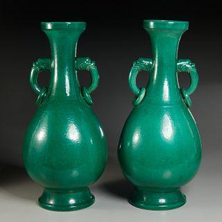 Pair large Chinese green glaze Yuhuchunping vases