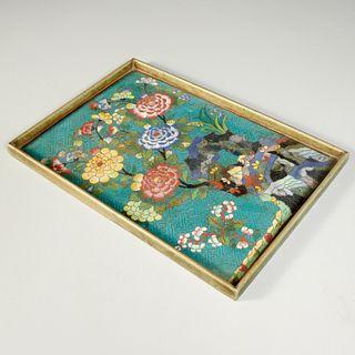 Chinese rectangular cloisonne enamel tray
