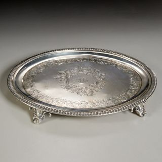 American silver footed tray, Wm. Gale & Sons