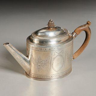 George III silver teapot, Hester Bateman