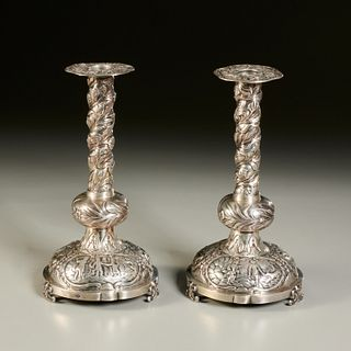 Pair Dutch silver candlesticks