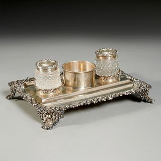 Robert Hennell II sterling silver double inkstand