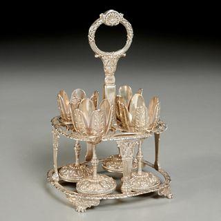 George III sterling silver egg cruet set