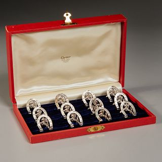 Cartier, (12) sterling equine place card holders