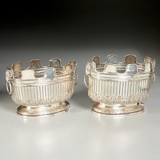 Old pair English silver plate monteith jardinieres