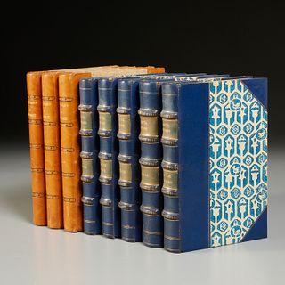 (8) Vols. Greek fine leather binding sets