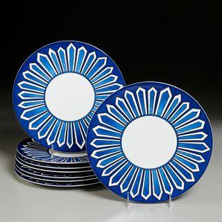 "Set (8) Hermes ""Bleus D'Aileurs"" dinner plates"