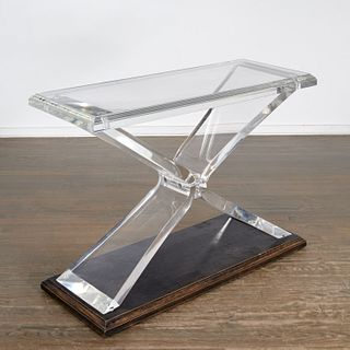 """Modern designer Lucite """"Butterfly"""" console table"""