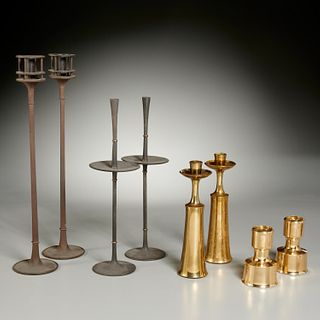 Jens Quistgaard, (4) pairs candlesticks