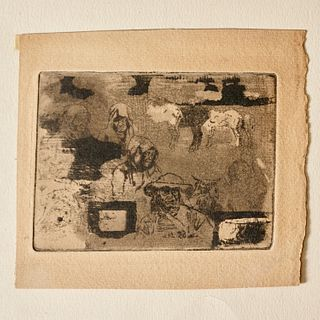 Felix Buhot, rare etching on paper