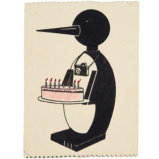Steve Gianakos, original penguin drawing